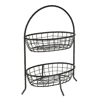 Black 2-Tier Wire Basket