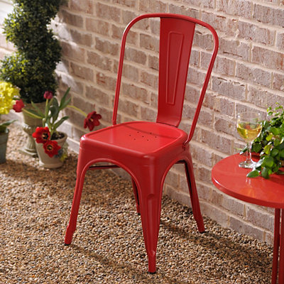 Red Retro Outdoor Metal Chair