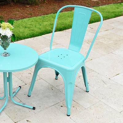Turquoise Retro Outdoor Metal Chair