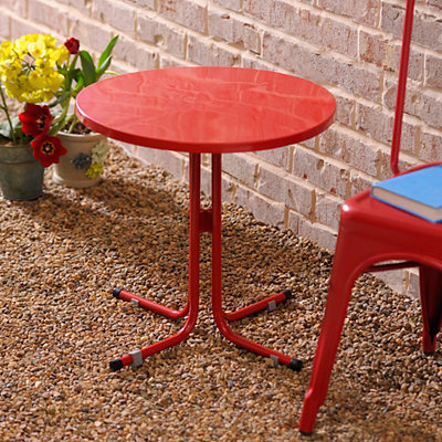 Round Red Outdoor Side Table