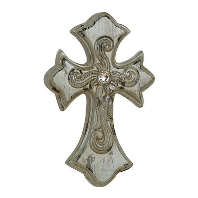 Distressed Ivory Ceramic Cross