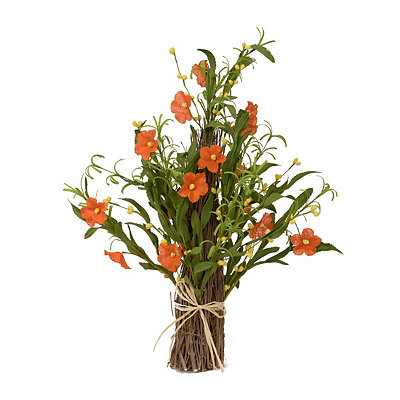 Orange Burlap Flower Stack