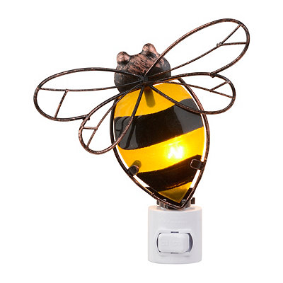 Glass and Metal Bumblebee Night Light