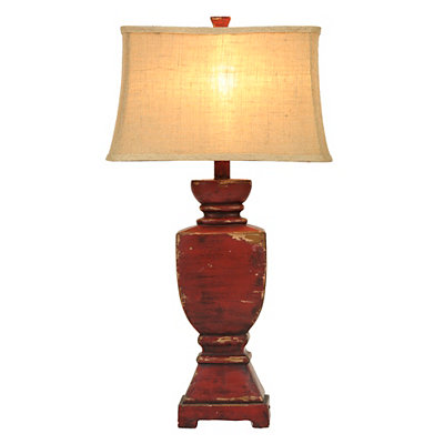 Distressed Brick Red Table Lamp