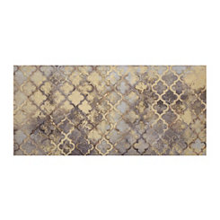 Gold Quatrefoil Grid Canvas Art Print