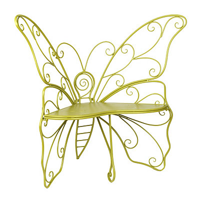 Green Metal Butterfly Outdoor Bench