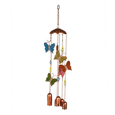 Copper Beaded Butterfly Wind Chime
