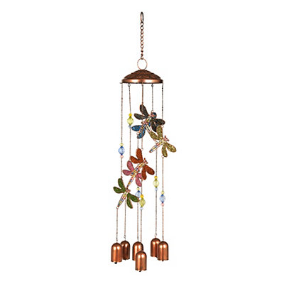 Copper Beaded Dragonfly Wind Chime