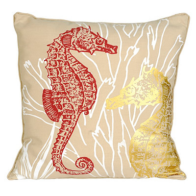 Metallic Seahorses Pillow