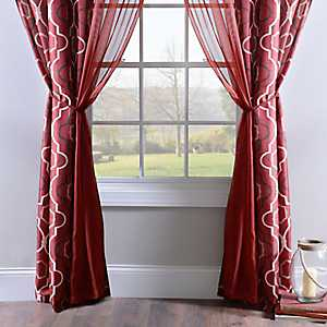 Donovan Red 6-piece Curtain Panel Set, 84 in.