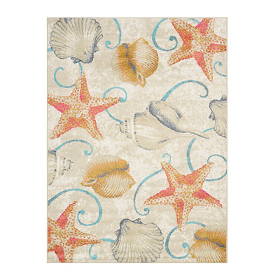 Coastal Starfish and Shells Area Rug, 5x7
