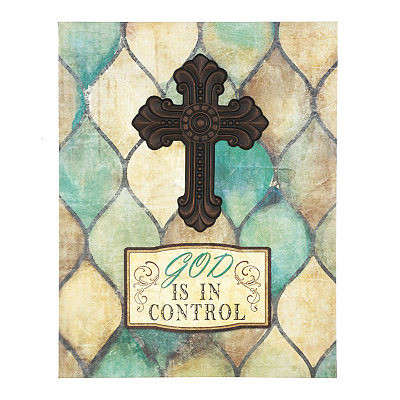 God is in Control Cross Canvas Plaque
