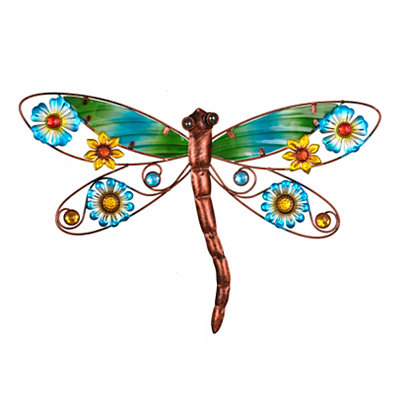 Floral Dragonfly I Metal Plaque