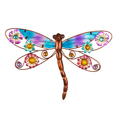 Floral Dragonfly II Metal Plaque