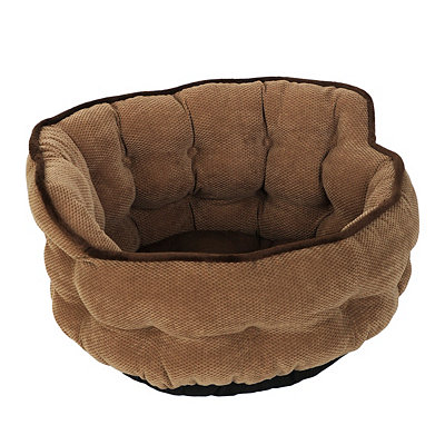 Chocolate Tufted Pet Bed