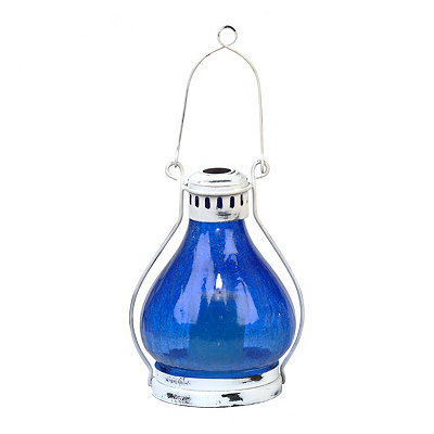 Dark Blue Crackle Glass Lantern