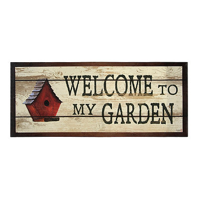Welcome to My Garden Canvas Plaque