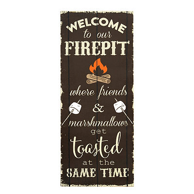 Welcome to Our Firepit Canvas Plaque