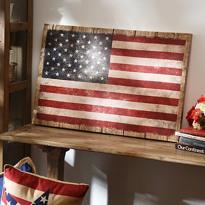 US Flag Wood Plank Canvas Art Print