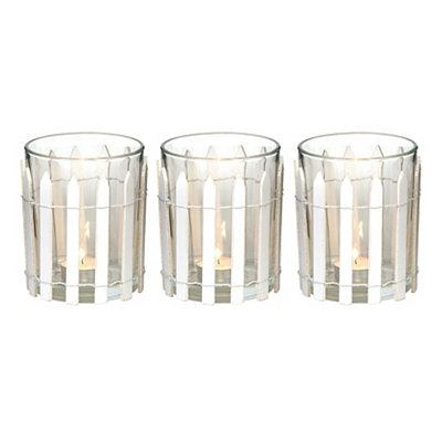 White Picket Fence Candle Holders, Set of 3