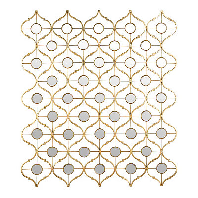 Mirrored Gold Quatrefoil Metal Plaque