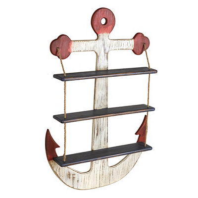 Distressed Red & White Anchor Wall Shelf
