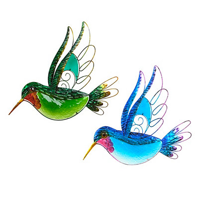 Glass Hummingbird Metal Plaques
