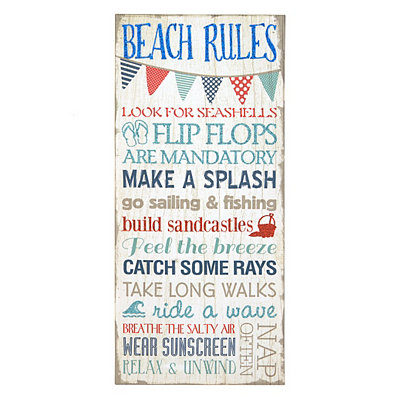 Beach Rules Canvas Plaque