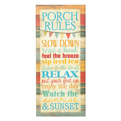 Porch Rules Canvas Plaque