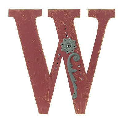 Ornate Distressed Red Monogram W Plaque