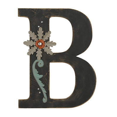 Ornate Distressed Black Monogram B Plaque