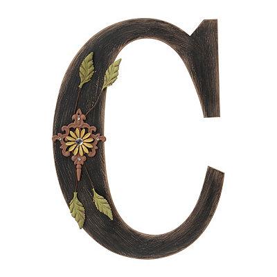 Ornate Distressed Black Monogram C Plaque