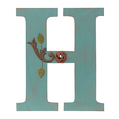 Ornate Distressed Blue Monogram H Plaque