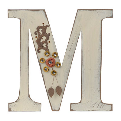Ornate Distressed Ivory Monogram M Plaque