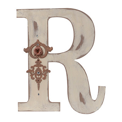 Ornate Distressed Ivory Monogram R Plaque
