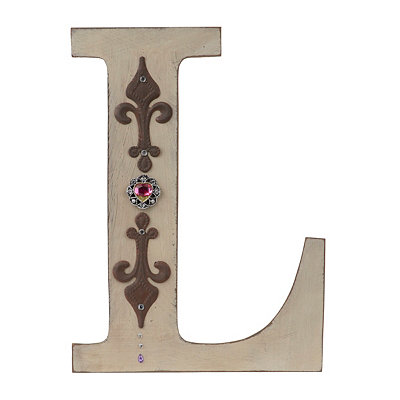 Ornate Distressed Ivory Monogram L Plaque