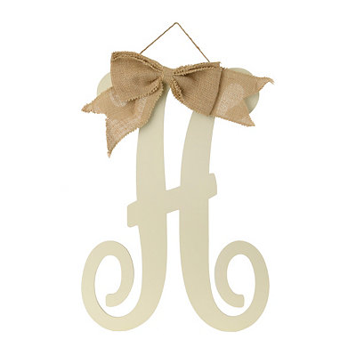 Antique Cream Monogram H Plaque