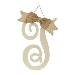 Antique Cream Monogram T Plaque