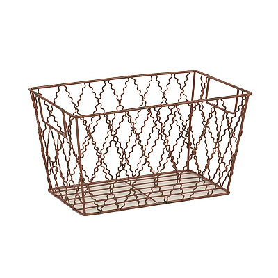 Red Metal Quatrefoil Basket