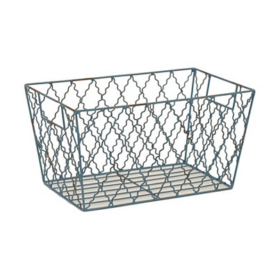 Blue Metal Quatrefoil Basket