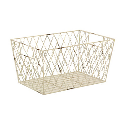 White Metal Quatrefoil Basket