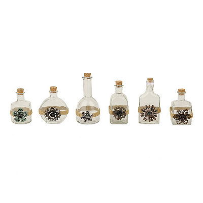 Floral Embellished Glass Bottles