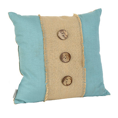 Blue Linen and Burlap Button Pillow