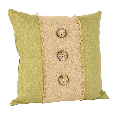 Green Linen and Burlap Button Pillow