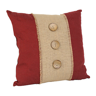Red Linen and Burlap Button Pillow