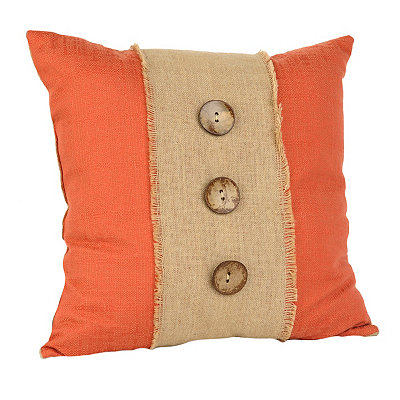 Spice Linen and Burlap Button Pillow