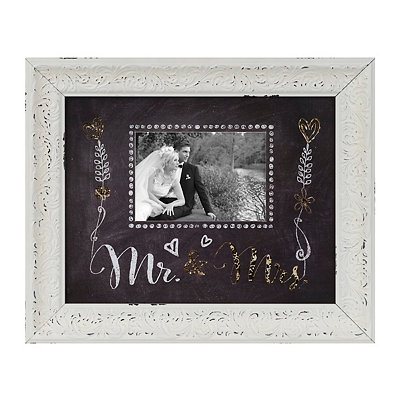 Gold Mr. & Mrs. Chalkboard Art Picture Frame, 5x7