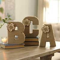 Wrapped Rope Burlap Monogram Letter Statue