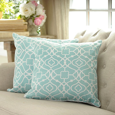 Blue Floral Gate Pillows, Set of 2