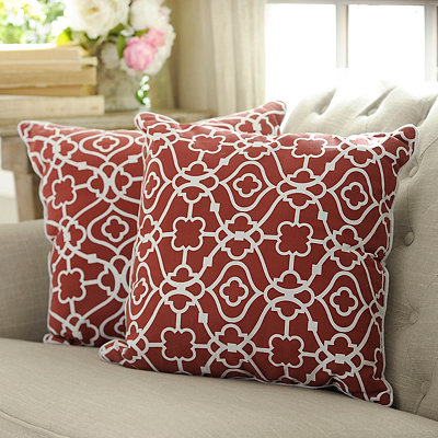 Red Floral Gate Pillows, Set of 2